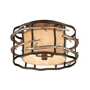 Graphite and Silver Adirondack Four-Light Semi Flush Mount