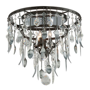 Bistro Graphite Four Light Flush Mount with Crystal Glass