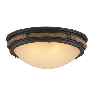 Pike Place Shipyard Bronze Three Light Flush Mount
