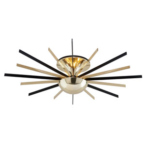 Atomic Polished Brass and Matte Black LED Medium Semi-Flush Mount