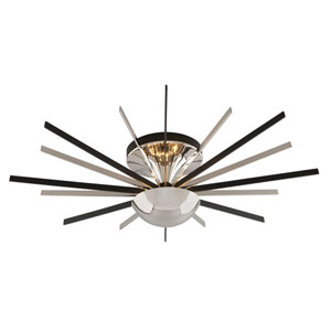 Atomic Polished Nickel One-Light  Thirty-Six-Inch LED Semi-Flushmount