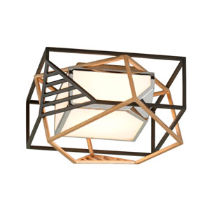 Cubist Bronze and Gold Leaf LED Flush Mount