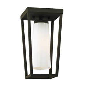 Mission Beach Textured Black One-Light Outdoor Semi Flush Mount with Opal White Glass