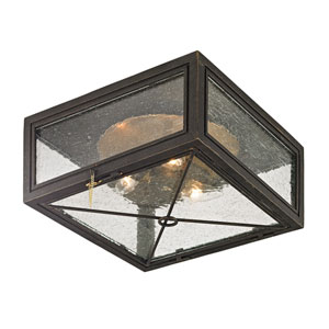 Randolph Vintage Bronze Three-Light Outdoor Flush Mount with Clear Seeded Glass