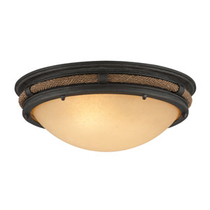 Pike Place Shipyard Bronze Fluorescent Two Light Flush Mount