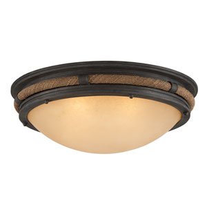Pike Place Shipyard Bronze Fluorescent Four Light Flush Mount