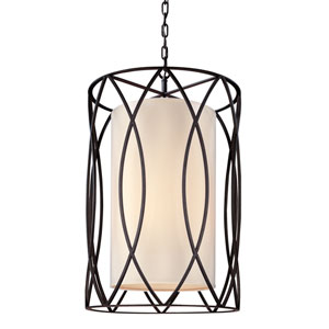 Sausalito Deep Bronze Eight-Light Pendant with Linen Shade