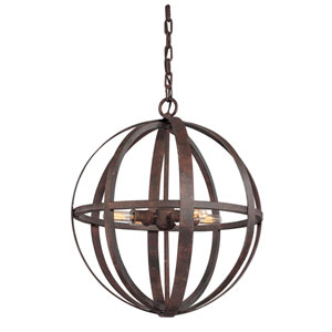Flatiron Weathered Iron Four-Light Pendant
