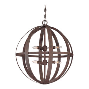 Flatiron Weathered Iron Six-Light Pendant