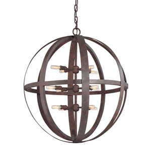 Flatiron Weathered Iron Twelve-Light Pendant