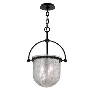 Mercury Old Iron Three-Light 11-Inch Pendant with Antique Silver Glass