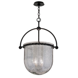 Mercury Old Iron Four-Light 15.5-Inch Pendant with Antique Silver Glass