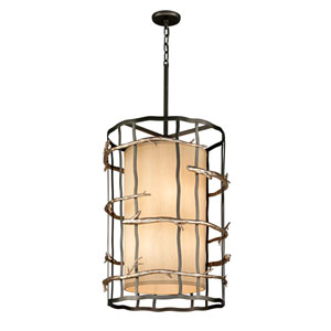 Graphite and Silver Adirondack Large Six-Light Entry Pendant