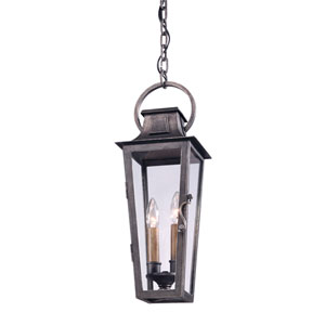 Aged Pewter French Quarter Two-Light Hanging Post Mount Lantern