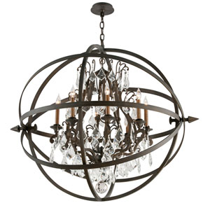 Byron Vintage Bronze Eight-Light Extra Large Crystal Pendant