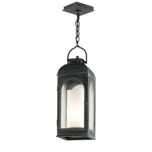 Antique Iron Derby One-Light Outdoor Lantern Pendant.