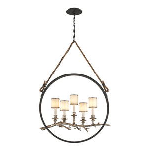 Drift Bronze With Silver Leaf Five-Light Medium Linear Pendant with White Pearl Glass