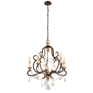 Bordeaux Parisian Bronze Five-Light Chandelier w/ Distressed Gold Leaf Crystal