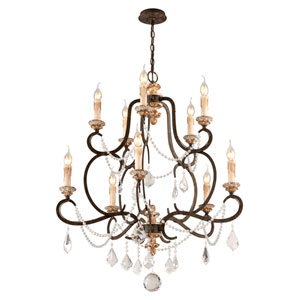 Bordeaux Parisian Bronze 10-Light Medium Chandelier w/ Distressed Gold Leaf Crystal