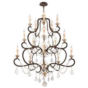 Bordeaux Parisian Bronze 15-Light Large Chandelier w/ Distressed Gold Leaf and Crystal