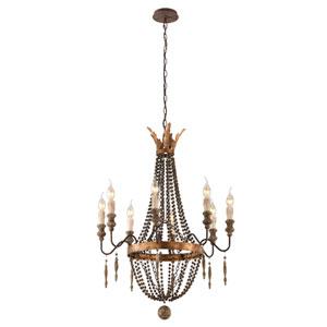 French Bronze with Aged Wood Eight Light Small Chandelier