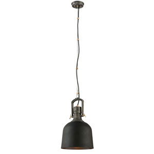 Hanger 31 Old Silver One-Light Small Pendant with Aged Brass Accents