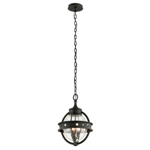 Mendocino Forged Black Three-Light Medium Pendant with Clear Seeded Glass