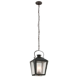 Nantucket Charred Iron One-Light Medium Pendant w/ Frosted Chimney and Clear Seeded Glass