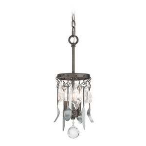 Bistro Graphite and Antique Pewter Flatware 7-Inch Three Light Mini Pendant