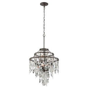 Bistro Graphite Six Light Chandelier with Crystal Glass