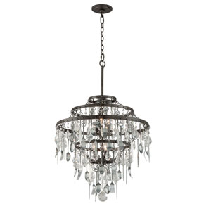Bistro Graphite Six Light Medium Chandelier with Crystal Glass
