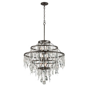 Bistro Graphite Nine Light Large Chandelier with Crystal Glass
