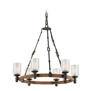 Embarcadero Shipyard Bronze and Antique Manila Rope Six Light Chandelier