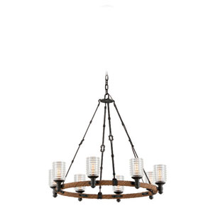 Embarcadero Shipyard Bronze and Antique Manila Rope Eight Light Chandelier