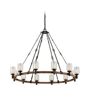 Embarcadero Shipyard Bronze and Antique Manila Rope 12-Light Chandelier