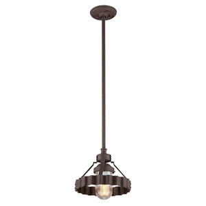 Canary Wharf Burnt Sienna One-Light Outdoor Pendant with Pressed Glass