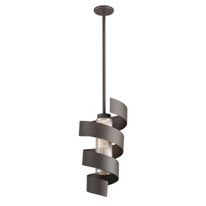 Vortex Bronze LED Medium Pendant with Perforated Metal Shade