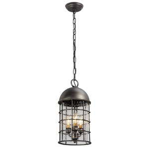 Charlemagne Aged Pewter Three-Light Outdoor Mini Pendant
