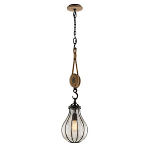 Murphy Vintage Iron 9-Inch One-Light Pendant with Hand-Blown Glass