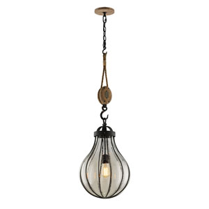 Murphy Vintage Iron 13.5-Inch One-Light Pendant with Hand-Blown Glass