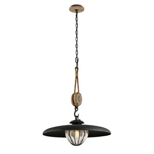 Murphy Vintage Iron 24-Inch One-Light Pendant with Hand-Blown Glass