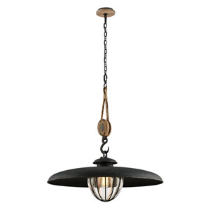 Murphy Vintage Iron 32-Inch One-Light Pendant with Hand-Blown Glass