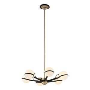 Ace Textured Bronze and Brushed Brass Six-Light Chandelier