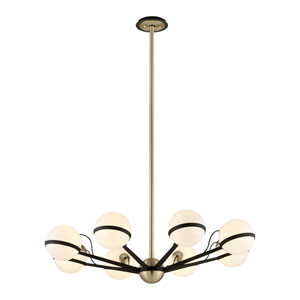 Ace Textured Bronze and Brushed Brass Eight-Light Chandelier