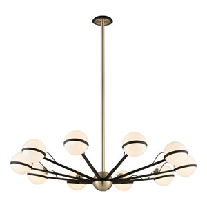 Ace Textured Bronze and Brushed Brass Ten-Light Chandelier