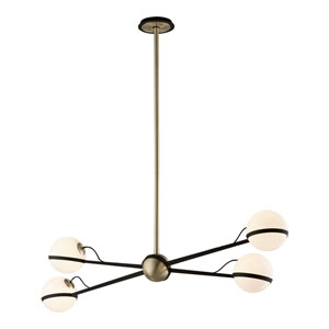 Ace Textured Bronze and Brushed Brass Four-Light Chandelier