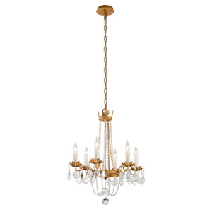 Viola Distressed Gold Leaf Five-Light Chandelier
