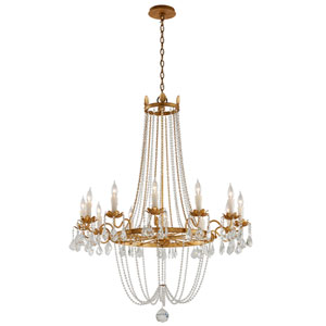 Viola Distressed Gold Leaf Twelve-Light Chandelier