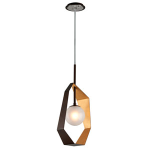 Origami Bronze with Gold Leaf 12-Inch LED Pendant with Frosted Clear Glass