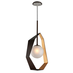 Origami Bronze with Gold Leaf 17-Inch LED Pendant with Frosted Clear Glass